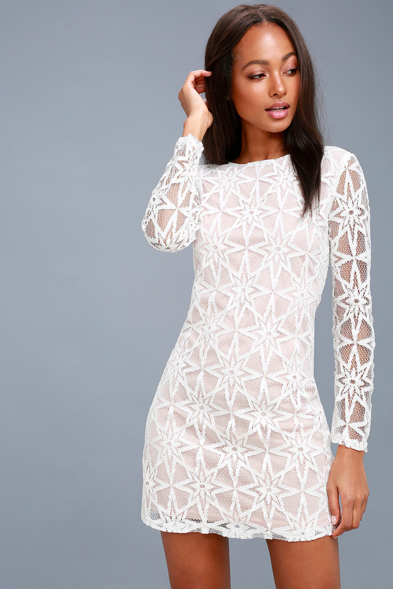 321762158391 Lovley White Dress - Long Sleeve Dress - White Lace Dress
