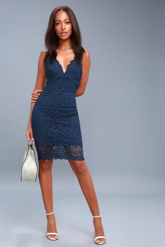 8df5318bcb6c Miami Nights Navy Blue Crochet Lace Bodycon Midi Dress
