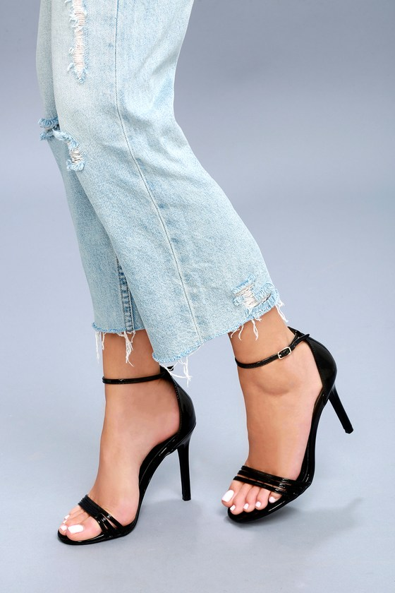 Chic Ankle Strap Heels - Black Patent Heels - Party Heels