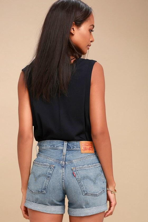 d19429c928 501 Medium Blue Wash Distressed Long Denim Shorts