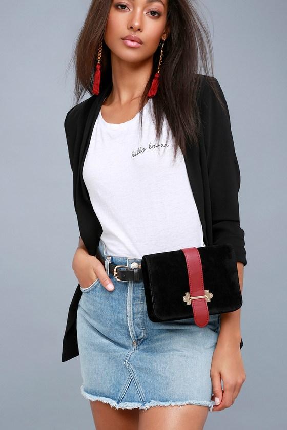 dcd7fda9759d Chic Black Belt Bag - Belt Purse - Vegan Suede Belt Bag
