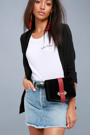 bcfb490b8e11 Chic Black Belt Bag - Belt Purse - Vegan Suede Belt Bag