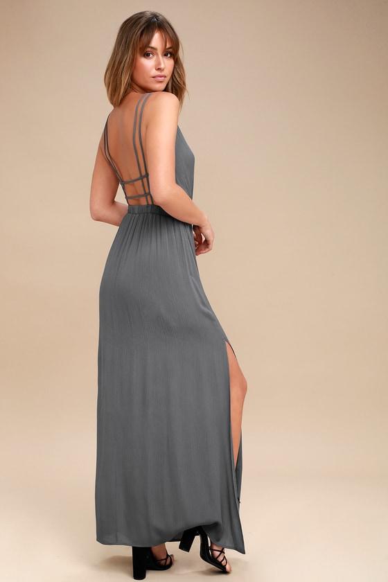 a1c4c1bec4 Lovely Slate Grey Dress - Backless Dress - Maxi Dress