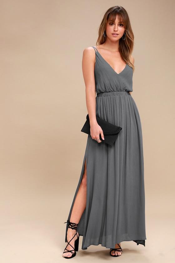 8bdd83efe4d Lovely Slate Grey Dress - Backless Dress - Maxi Dress