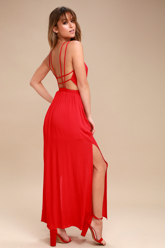 Lovely Red Dress Strappy Dress Backless Maxi Dress Lulus