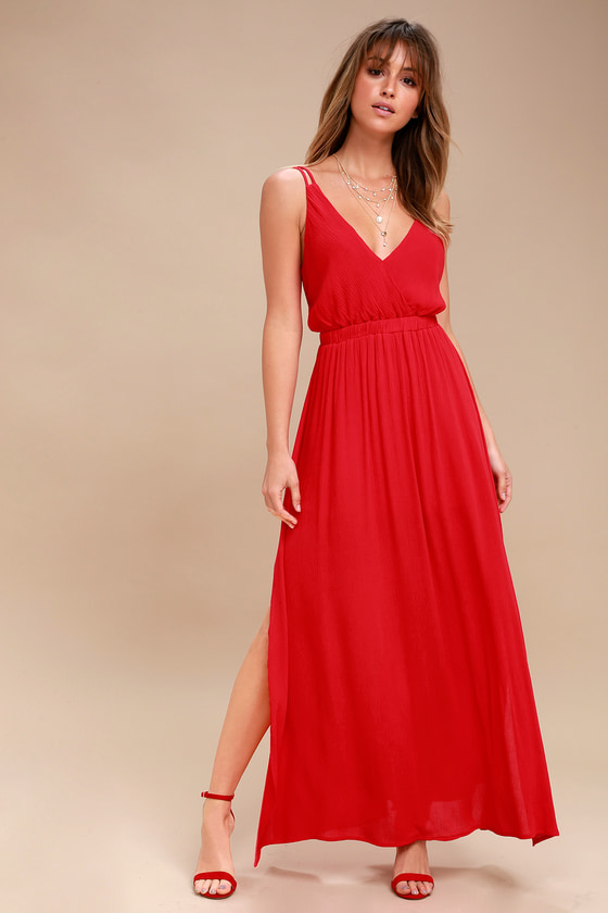 9ac1ca9e2ed5 Lovely Red Dress - Strappy Dress - Backless Maxi Dress
