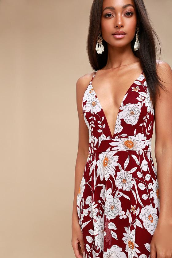 ff99d7ed39 Burgundy Floral Print Dress - Backless Maxi - Maxi Dress
