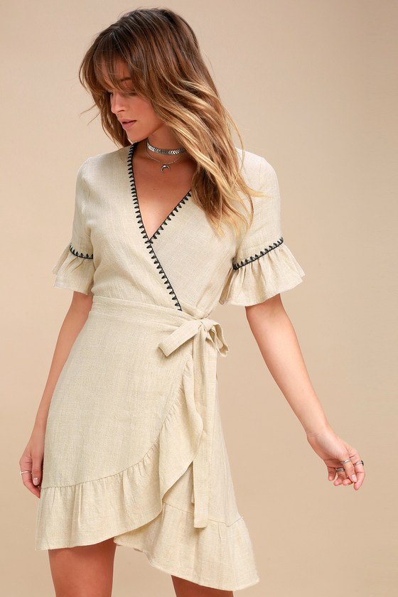 709c6caa24d Cyrus Beige Embroidered Wrap Dress