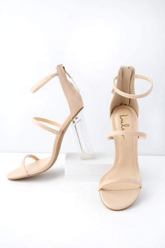 bc0335a8465f Chic Nude Heels - Vegan Leather Heels - Lucite Heels