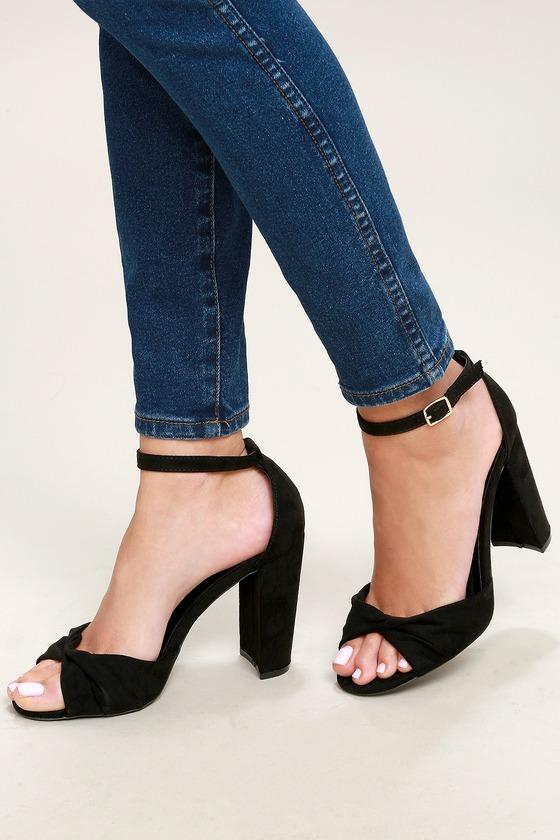 cf2608fca576 Classic Black Heels - Vegan Suede Heels - Ankle Strap Heels