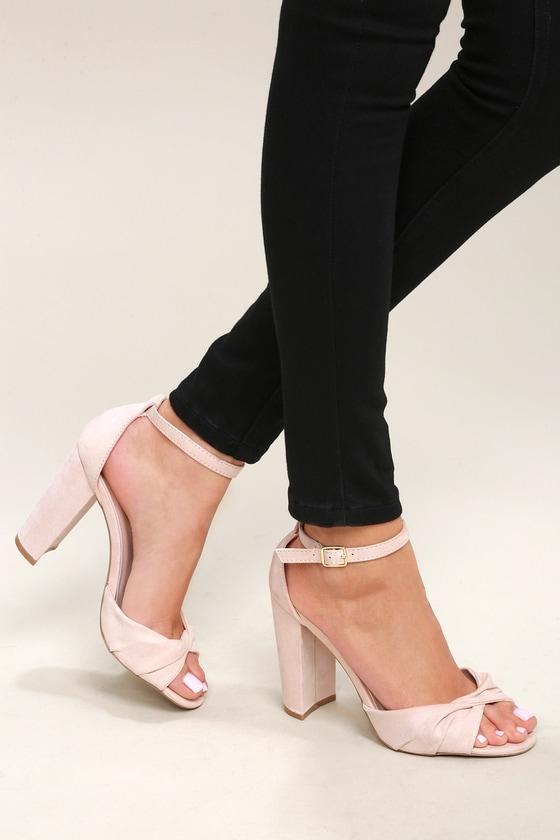 471bfac7caa7 Classic Nude Heels - Vegan Suede Heels - Ankle Strap Heels