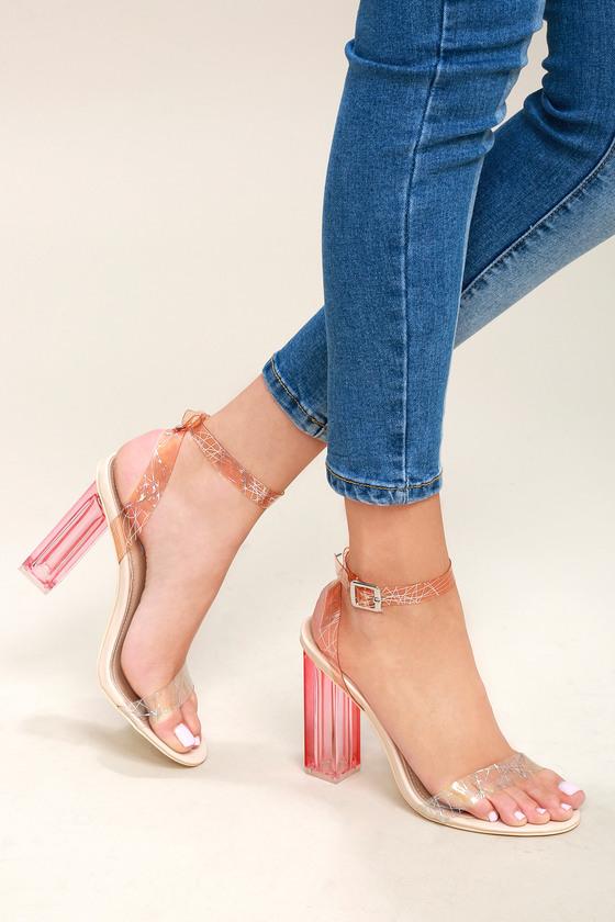 11aa10dd725 Sexy Clear Heels - Lucite Heels - Block Heels - Nude Heels