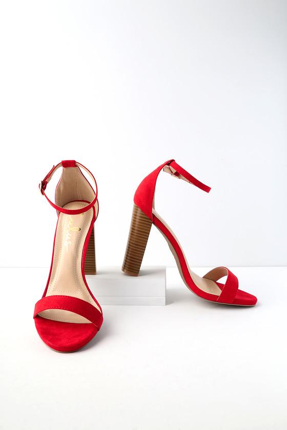 eac1b891606 Sexy Red Heels - Ankle Strap Heels - Single Sole Heels