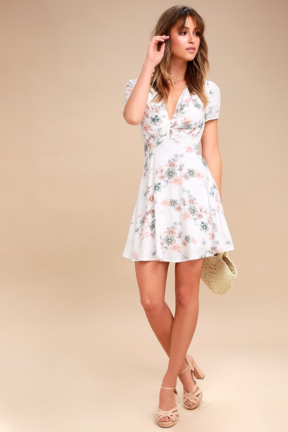 Cute White Dress - Floral Print Dress - Skater Dress acd09e2ec