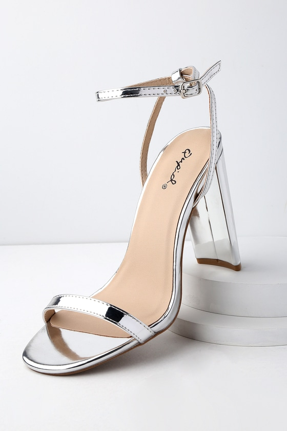 chic silver heels patent heels ankle strap heels