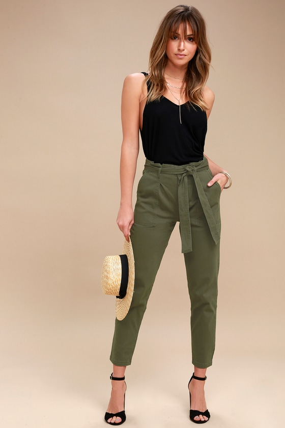 Chic Olive Green Pants Cropped Pants Tie Waist Pants
