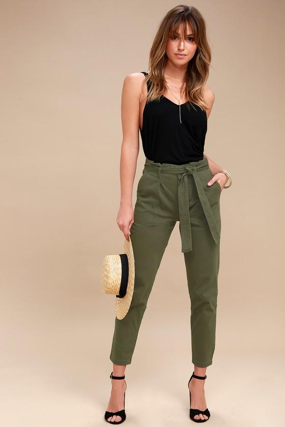 cefcdf5ea166 Chic Olive Green Pants - Cropped Pants - Tie-Waist Pants