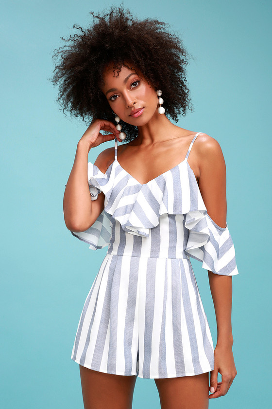 347af837209 Cute Blue and White Striped Romper - Off-the-Shoulder Romper