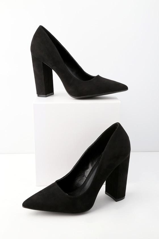 a04108e40e Chic Vegan Black Suede Pumps - Suede Pumps -Block Heel Pumps
