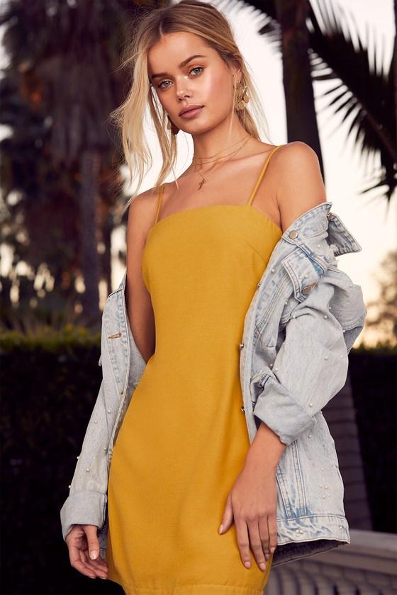 d42805dbebd Cute Mustard Yellow Dress - Tie-Back Dress - Sheath Dress