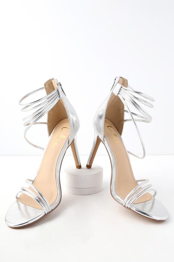 f0479180f1d Chic Silver Heels - Metallic heels - Ankle Strap Heels