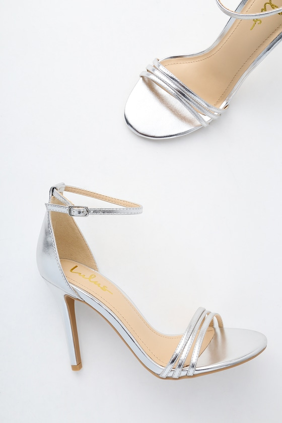 c6254db4234 Chic Ankle Strap Heels - Silver Heels - Party Heels