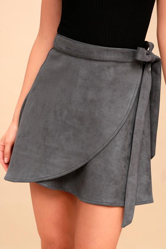 a8a756e78738 Cute Grey Suede Skirt - Wrap Skirt - Vegan Suede Skirt