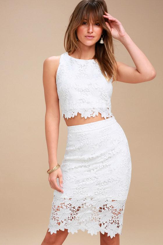 two-piece white lace dress