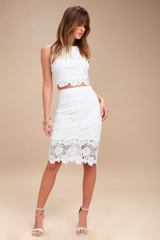 Chic White Dress Lace Dress Two Piece Dress Midi Dress Lulus