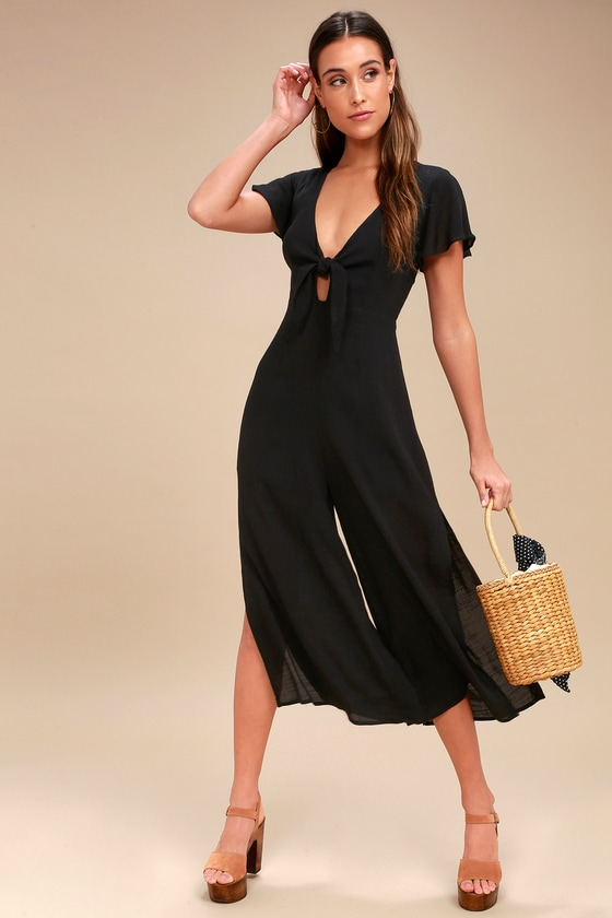 98562b4e09 Chic Black Jumpsuit - Tie-Front Jumpsuit - Culotte Jumpsuit