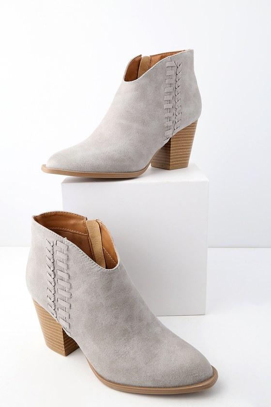 15da0019d782 Cute Vegan Booties - Ankle Booties - Light Grey Booties