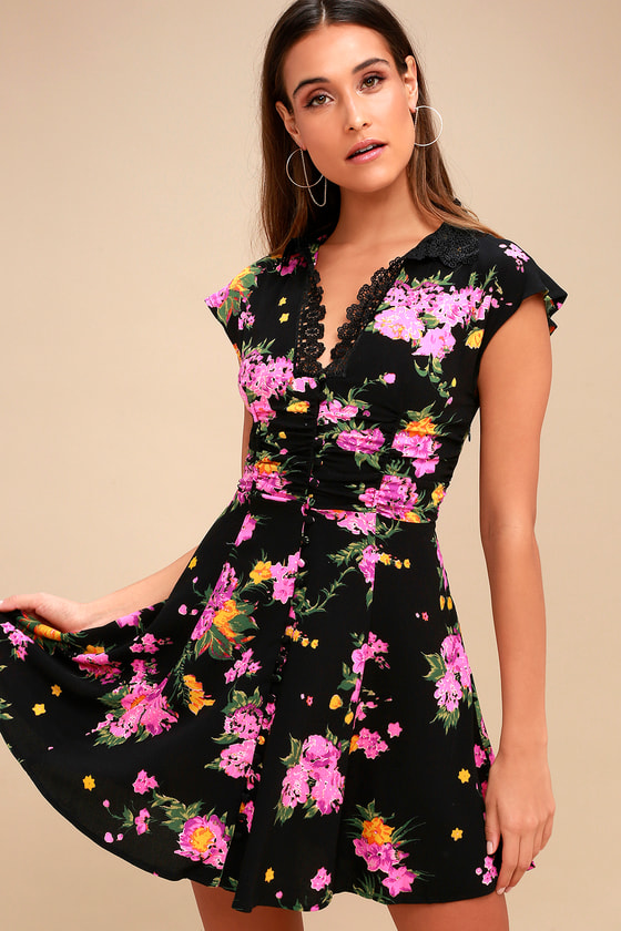 7e0634c8b72c35 Free People Alora - Black Floral Print Dress - Mini Dress