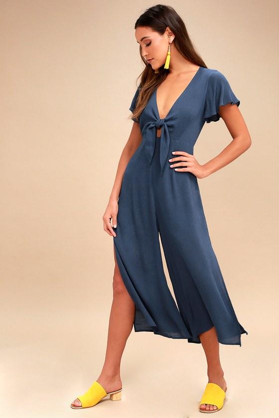 3c94f6f43739 Teal Blue Jumpsuit - Tie-Front Jumpsuit - Culotte Jumpsuit
