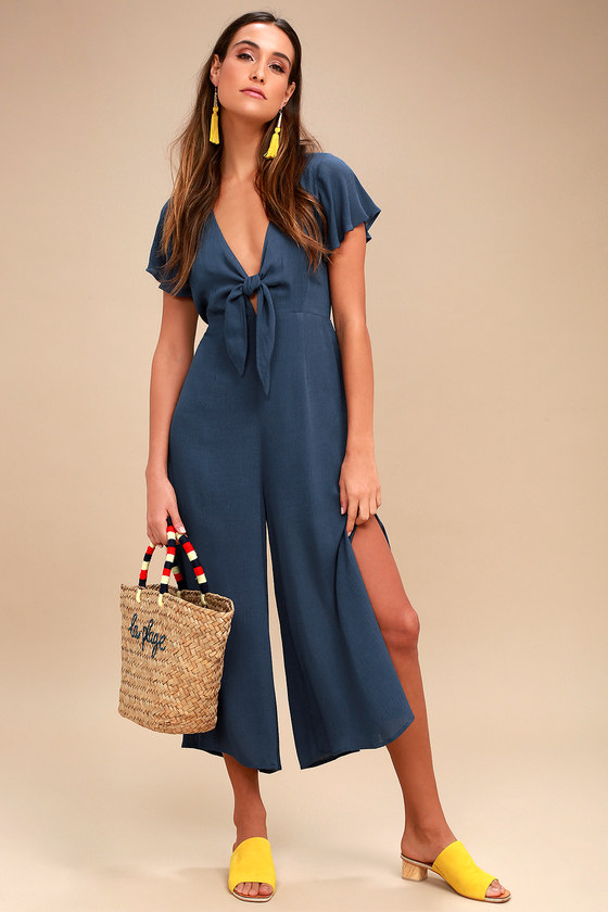 2045b75d91ce Teal Blue Jumpsuit - Tie-Front Jumpsuit - Culotte Jumpsuit