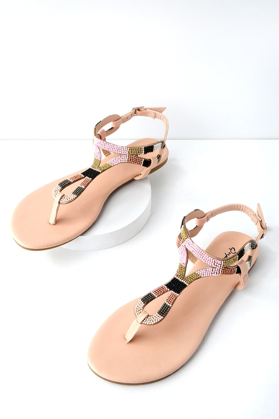 1c59f717e4e9 Cute Nude Beaded Sandals - Flat Sandals - Thong Sandals