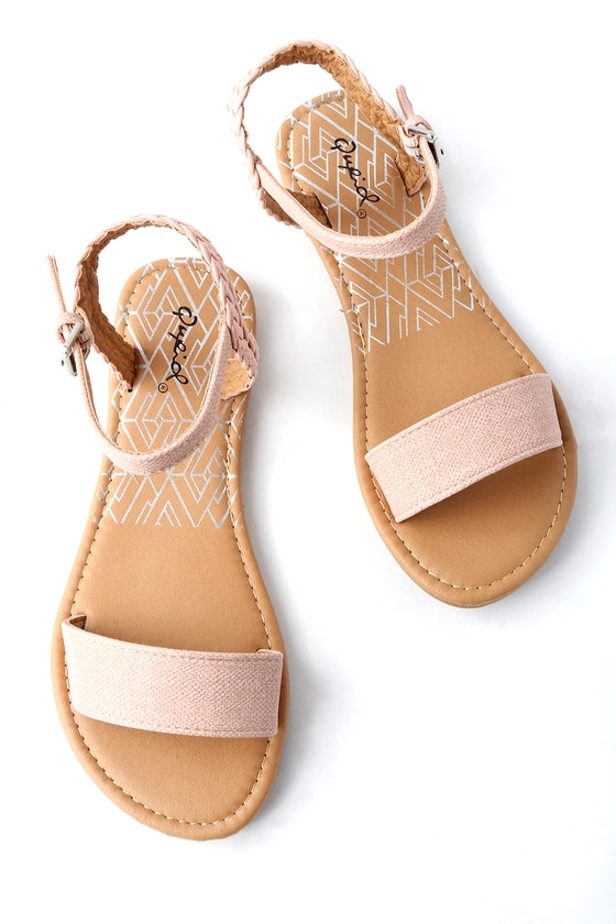 764f35818 Cute Blush Sandals - Flat Sandals - Vegan Leather Sandals