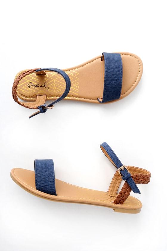 0e413746a Cute Navy Sandals - Flat Sandals - Vegan Leather Sandals
