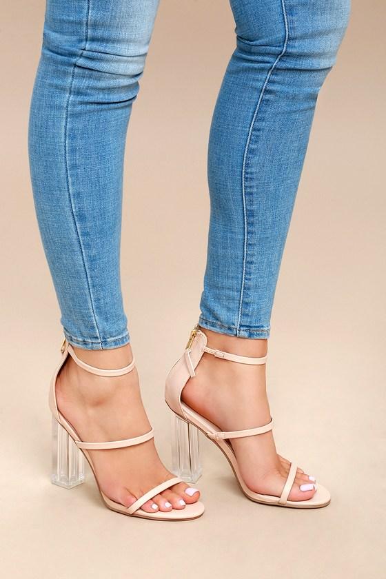 b6a6d3d115 Chic Nude Heels - Vegan Leather Heels - Lucite Heels
