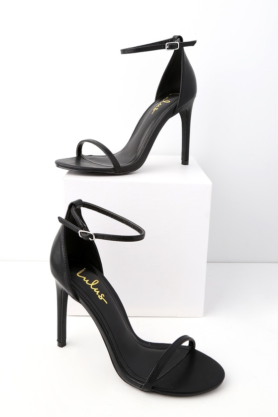Sexy Heels - Vegan Leather Heels - Black Ankle Strap Heels