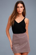 9ab643e47 Blank NYC Candy Crush - Blush Pink Suede Leather Mini Skirt