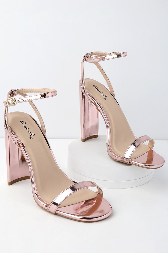 Chic Rose Gold Heels - Patent Heels - Ankle Strap Heels
