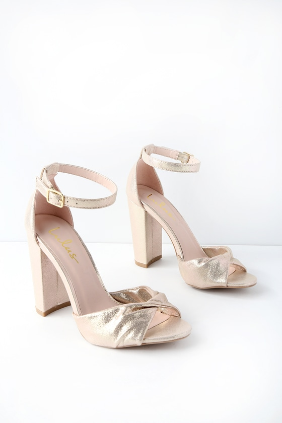 7b270b227ed5 Classic Gold Heels - Sparkly Heels - Ankle Strap Heels