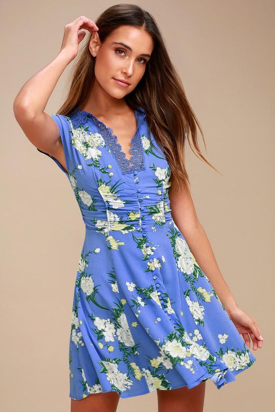 0edab965ef35 Free People Alora - Blue Floral Print Dress - Mini Dress