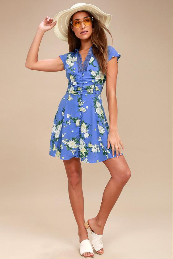 9ece81bdc Free People Alora - Blue Floral Print Dress - Mini Dress