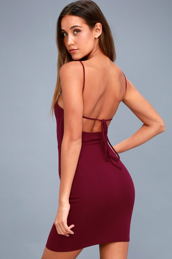 Center Stage Burgundy Backless Bodycon Dress by Lulus