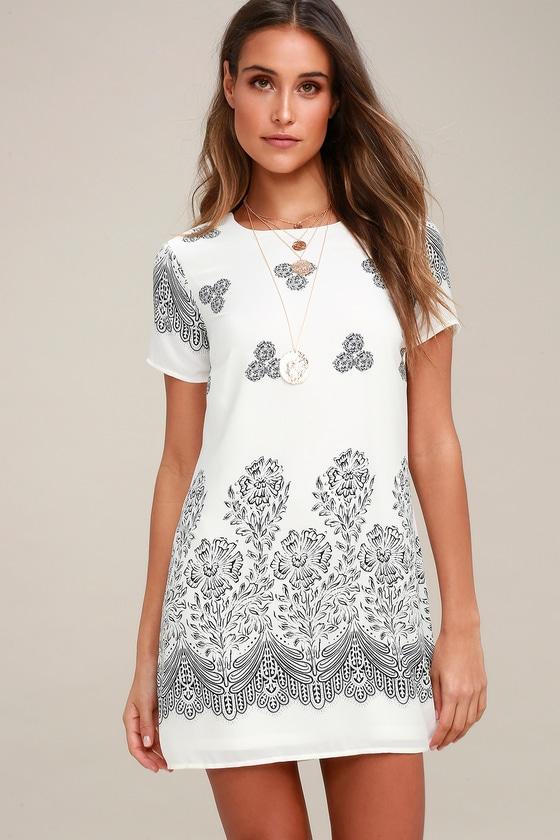 ae5fe5bf25b Cute White Dress - Shift Dress - Floral Print Dress