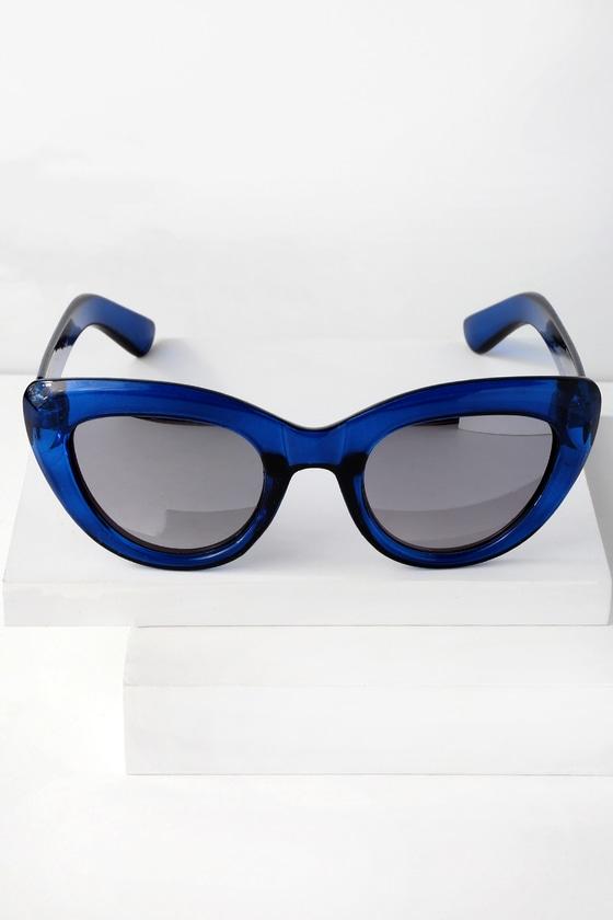Unique Retro Vintage Style Sunglasses & Eyeglasses Whew Blue Mirrored Cat-Eye Sunglasses - Lulus $8.00 AT vintagedancer.com
