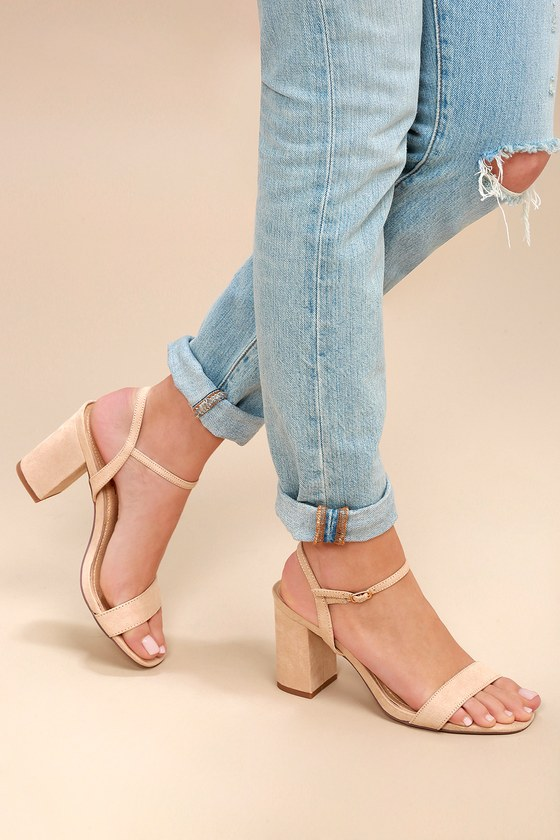 a06fe5b63 Cute Chunky Heel Sandals - Nude Suede High Heel Sandals