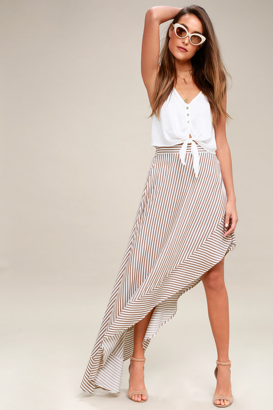 King Harbor Tan and White Striped Maxi Skirt