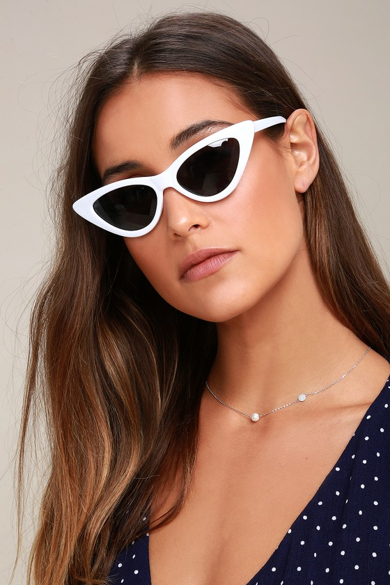 9686b7bc49 Chic White Sunglasses - White Cat-Eye Sunglasses